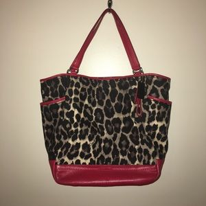 Coach red and animal print purse